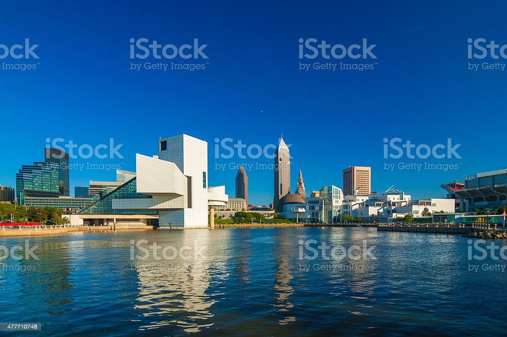 Cleveland waterfront skyline with museums stock photo