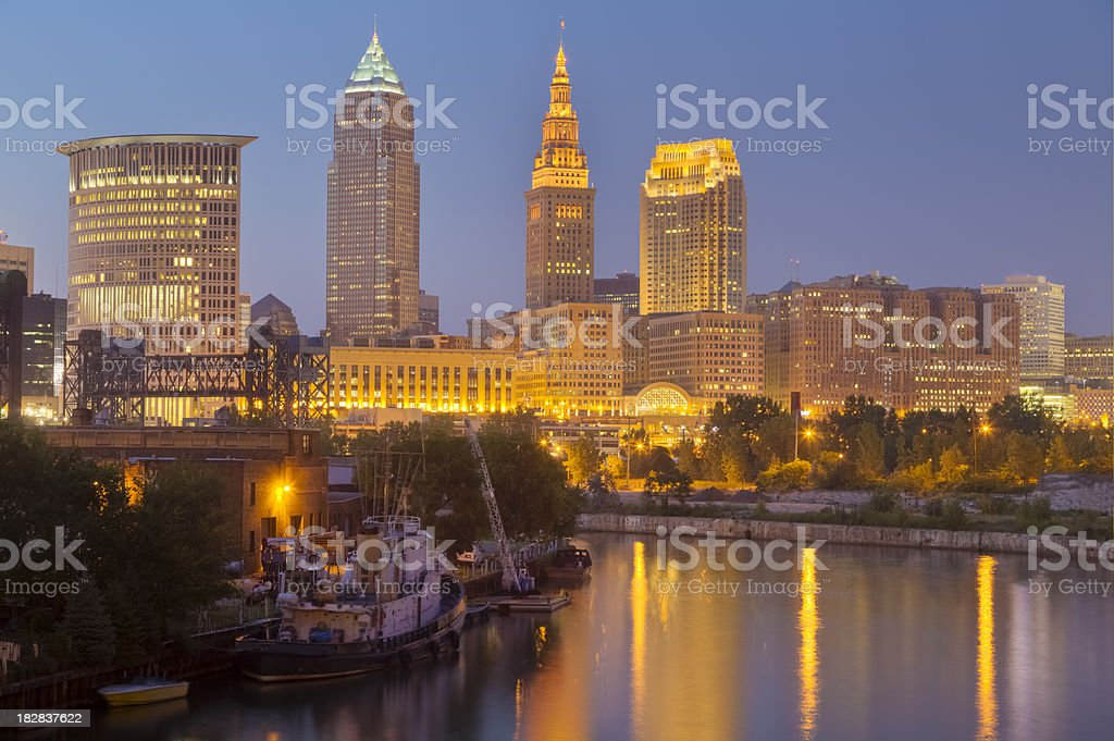 Cleveland With Lights Reflecting on Cuyahoga River at Night stock photo