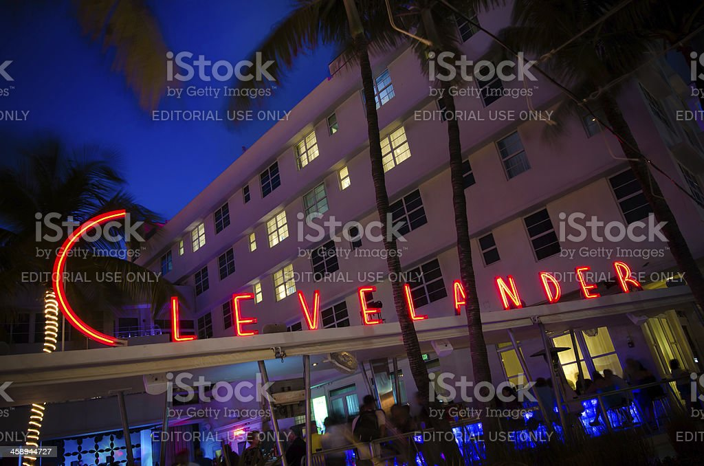 Clevelander Hotel sign along Ocean Drive in Miami Beach, FL royalty-free stock photo