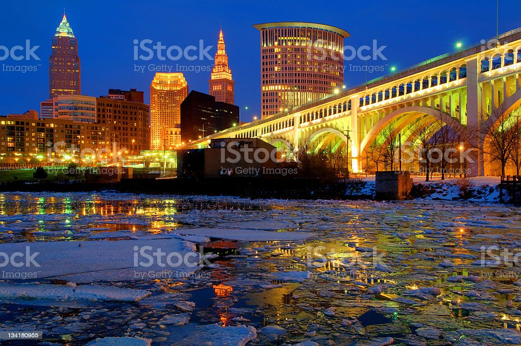 Cleveland's downtown skyline on a winter night stock photo