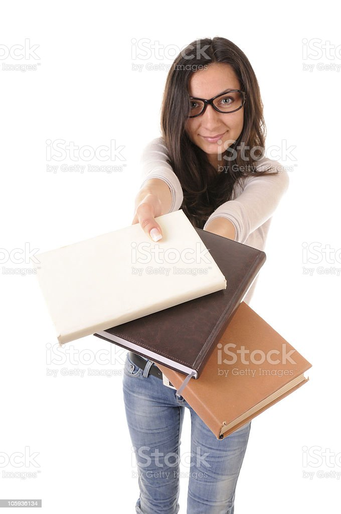 Clever girl with books royalty-free stock photo