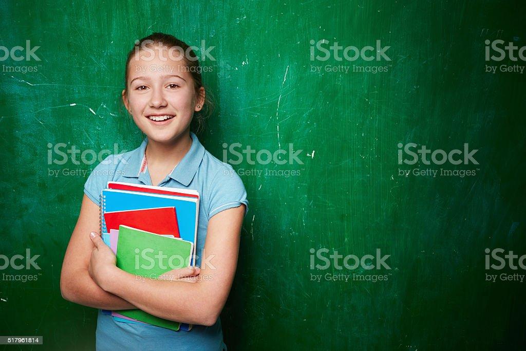 Clever schoolgirl stock photo