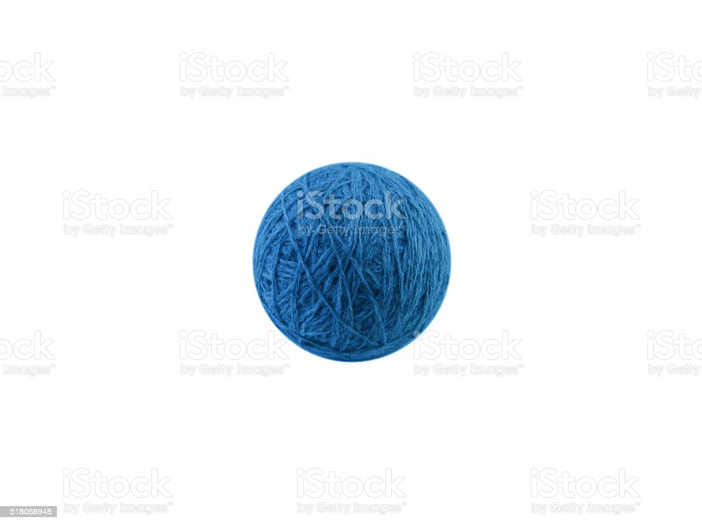Clew of blue wool thread isolated on white stock photo