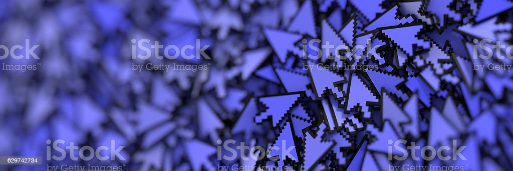 Click cursors background, 3d rendering stock photo