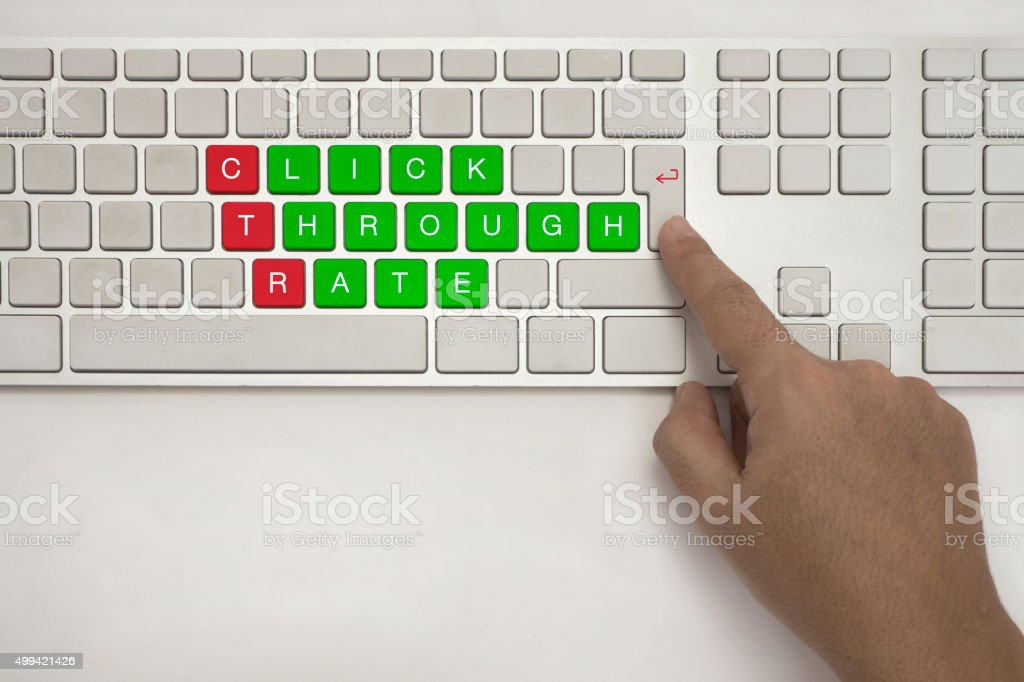 CTR Click Trough Rate on Keyboard stock photo