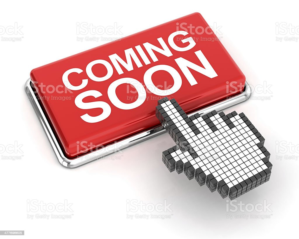 Clicking a coming soon button stock photo