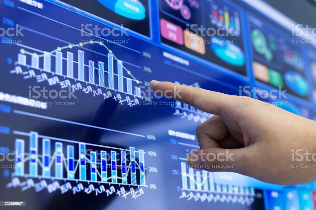 clicking and analysis  business financial report stock photo