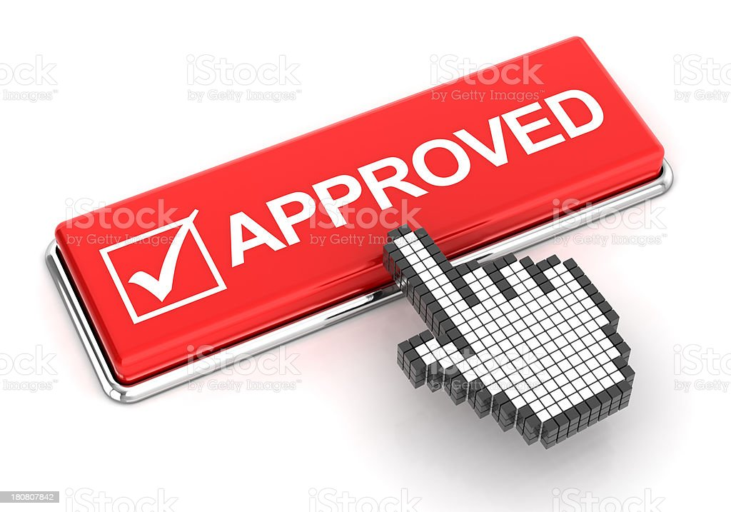 Clicking on approved button, 3d render royalty-free stock photo