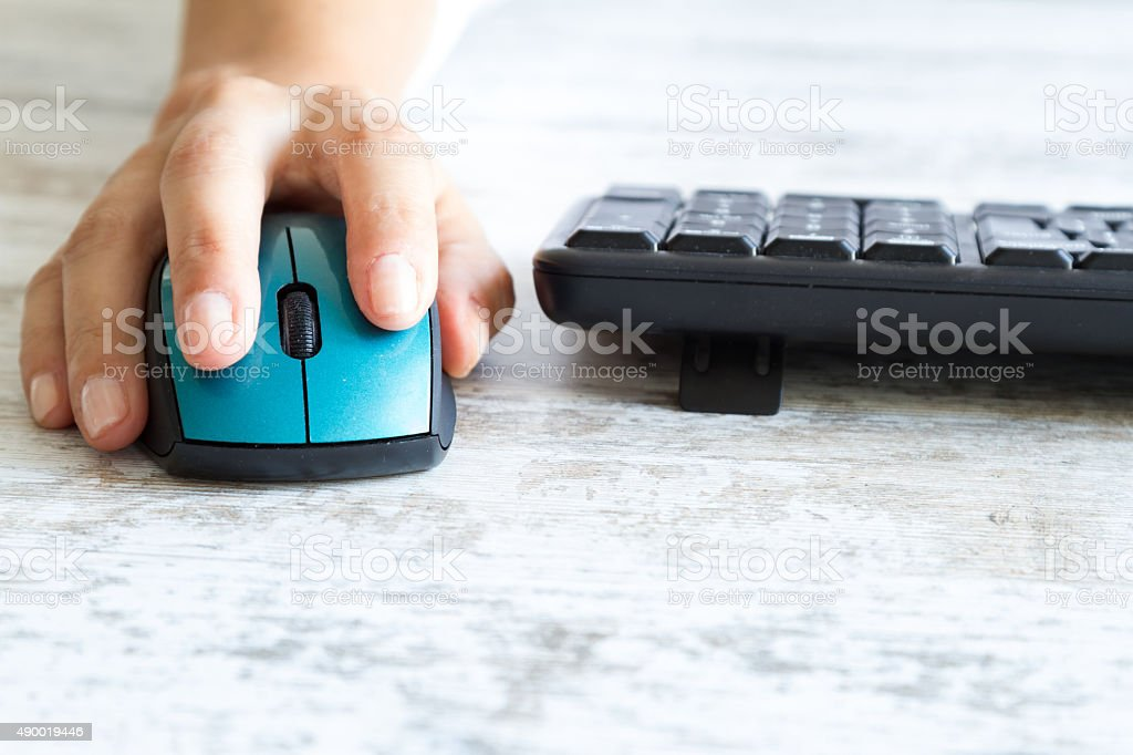 Clicking the mouse stock photo