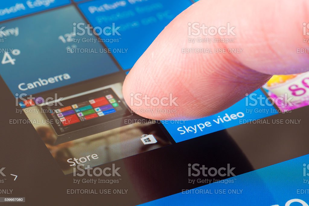 Clicking the Windows Store icon stock photo