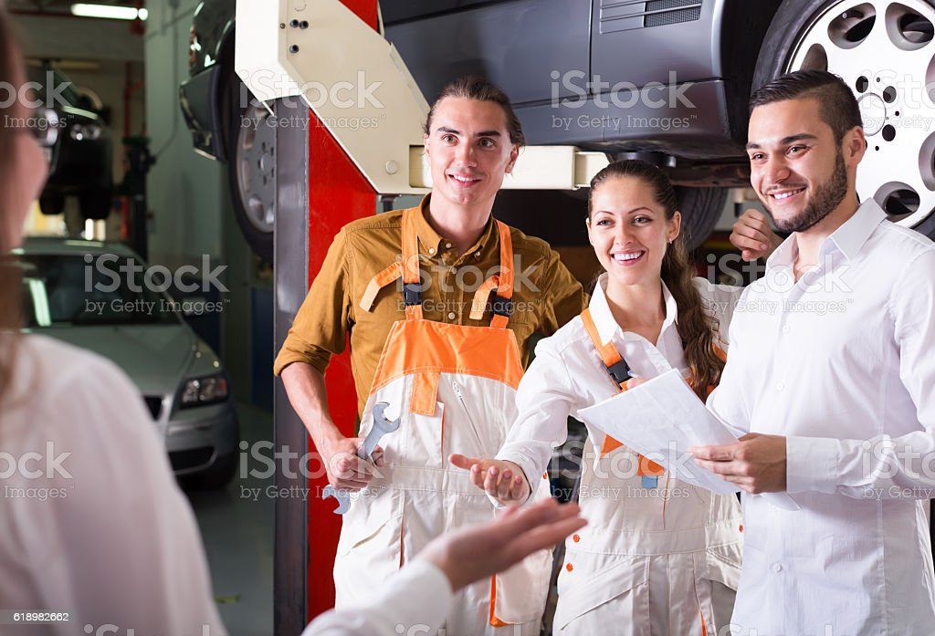 Client at auto service stock photo