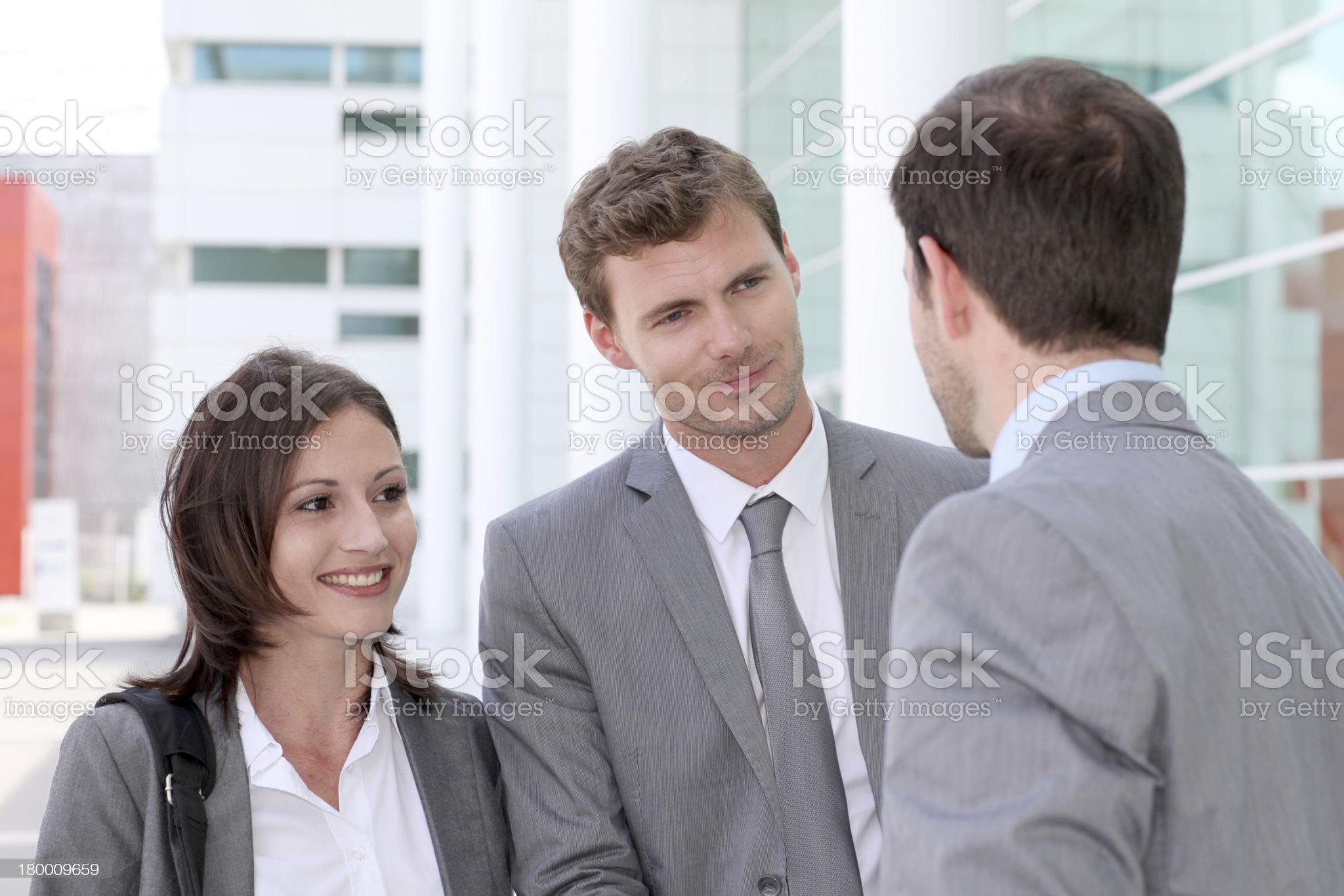 Client giving agreement to business team for project royalty-free stock photo