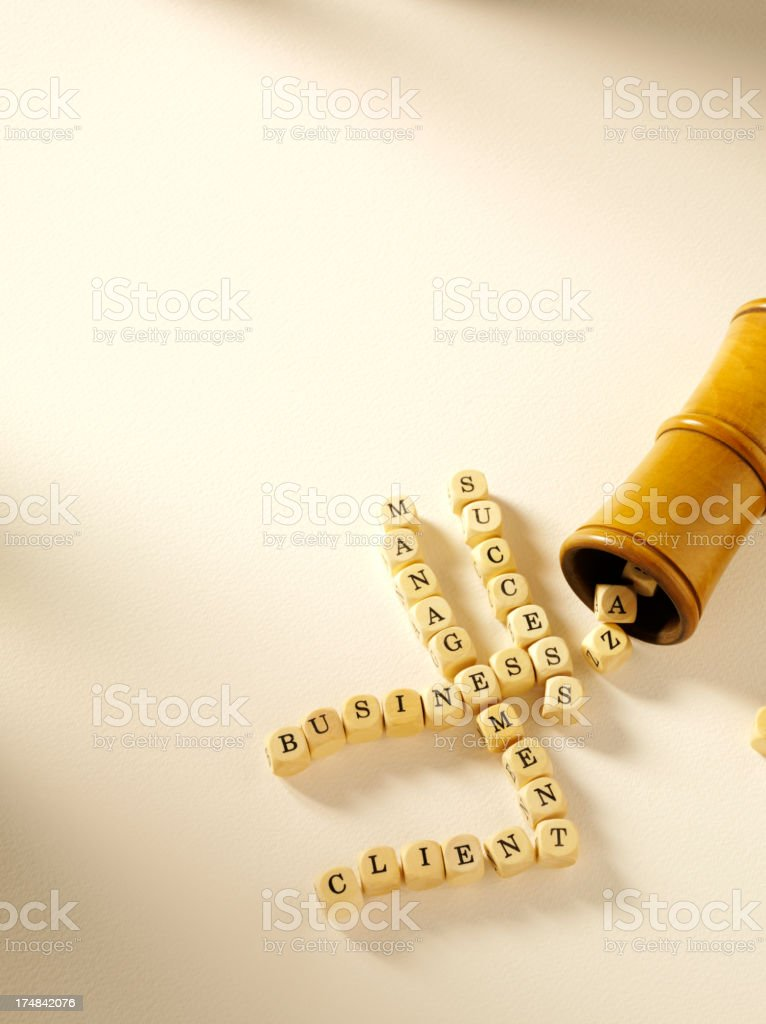 Client Success with Business Management on Wooden Dice royalty-free stock photo