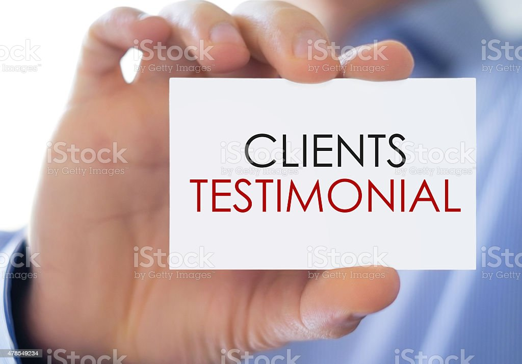 Clients Testimonial - Business card concept stock photo