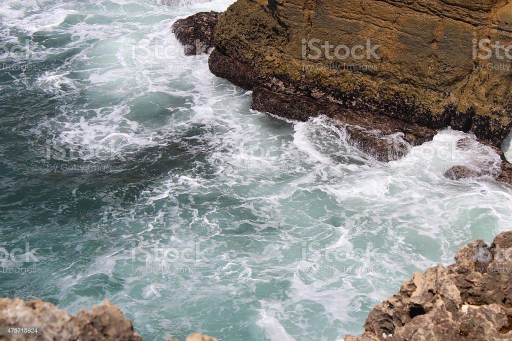 Cliff and Sea, Cascais, Lisbon, Portugal stock photo