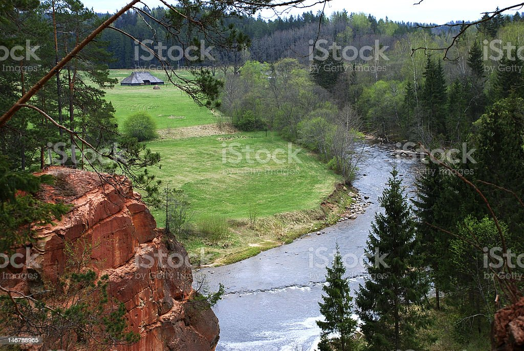 Cliff and stream royalty-free stock photo