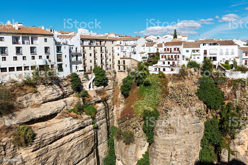 Cliff and white houses in Ronda, Spain stock photo