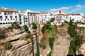 Cliff and white houses in Ronda, Spain