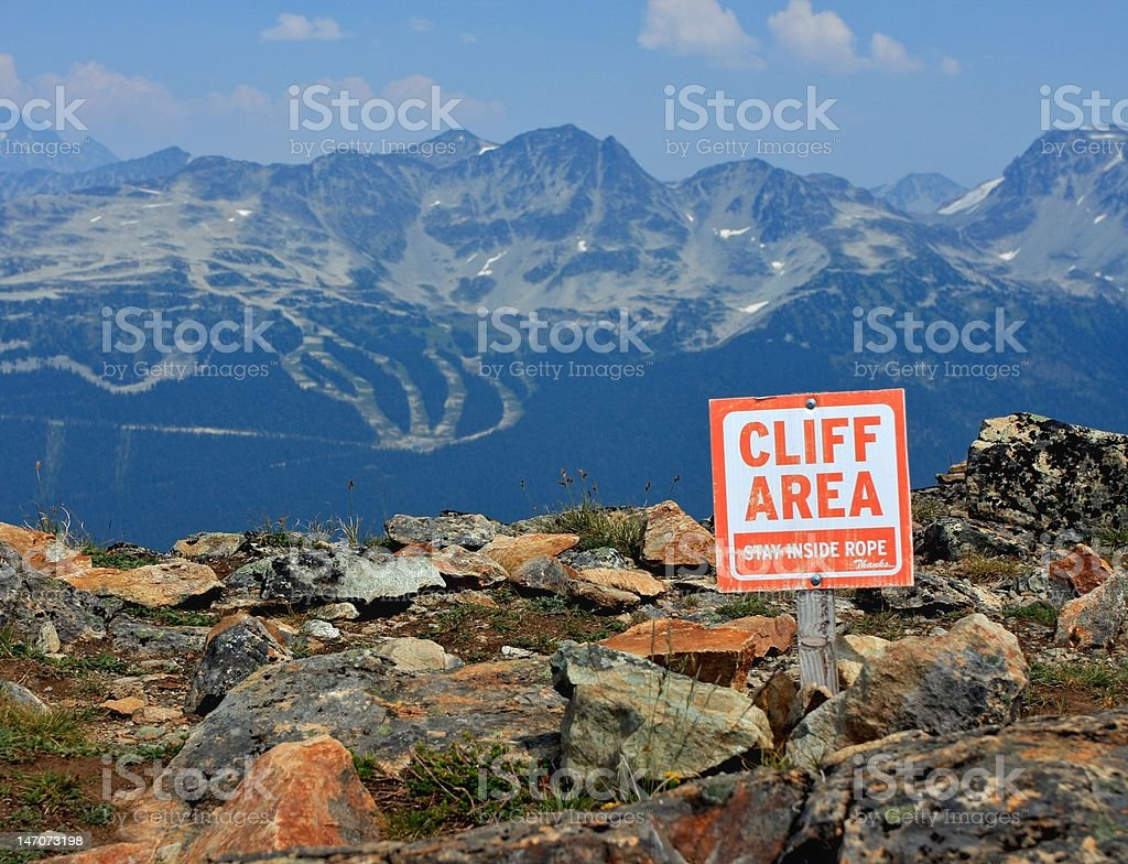 Cliff area sign. royalty-free stock photo