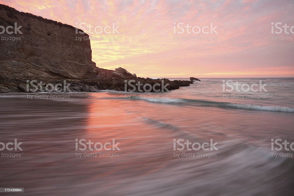 Cliff at Montana De Oro Beach at Sunset, California Coastline stock photo