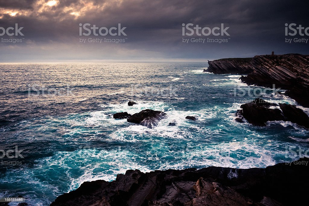 Cliff Coastline over the Ocean during a Storm royalty-free stock photo