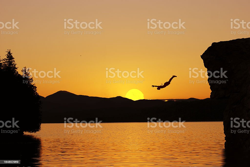 cliff diving stock photo