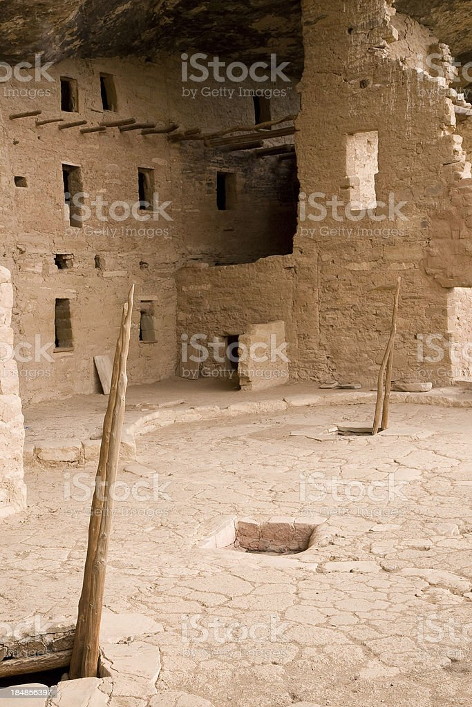 Cliff Dwelling With Kiva Ladders, Mesa Verde National Park, Colorado stock photo