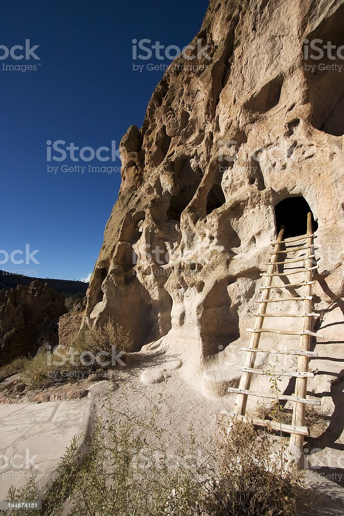 cliff dwellings at Bandelier New Mexico royalty-free stock photo