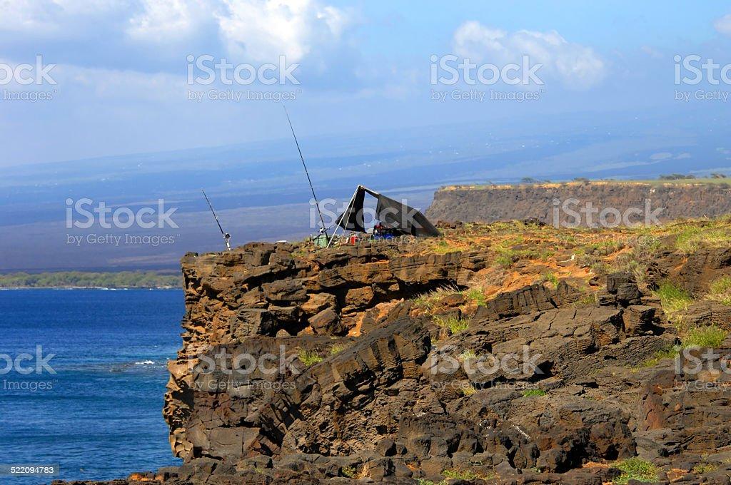 Cliff edge Camping stock photo