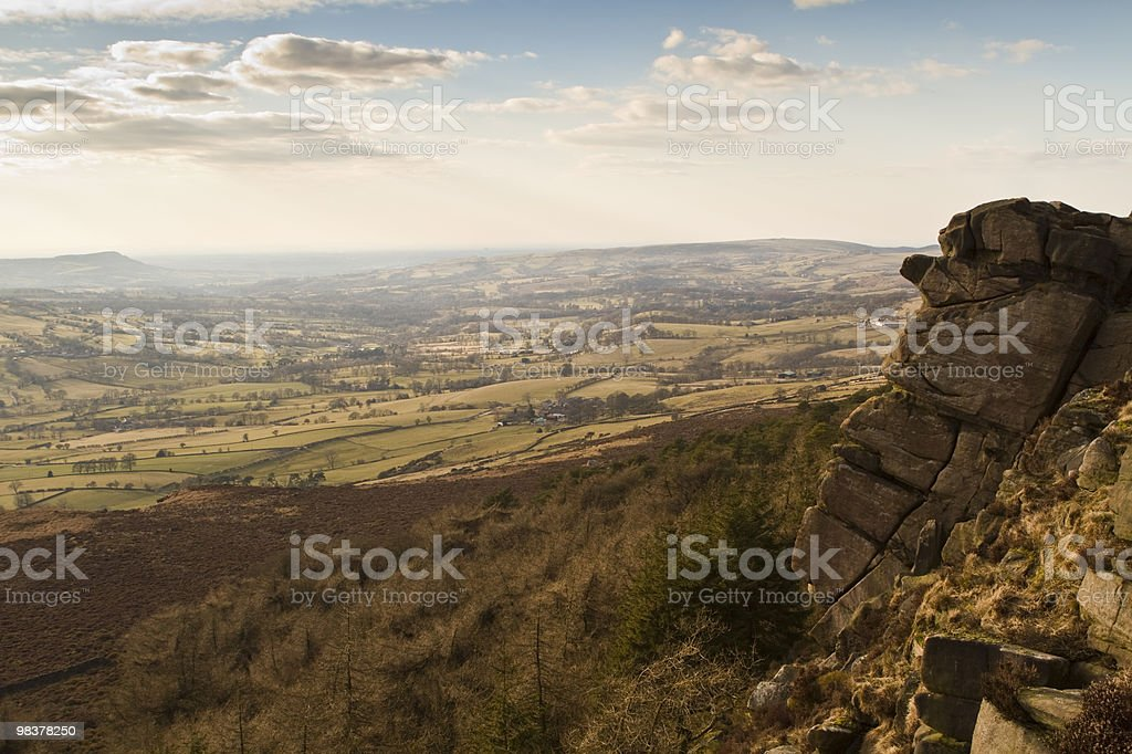Cliff edge on a sunny day stock photo