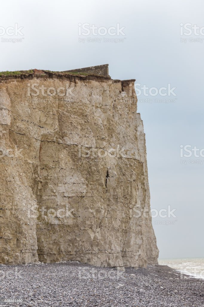 Cliff face closeup, chalk cliff, Seven Sisters, Beachy Head, Sussex stock photo