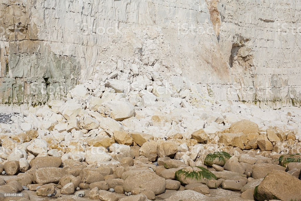 Cliff fall , Seven Sisters National park, East Sussex stock photo