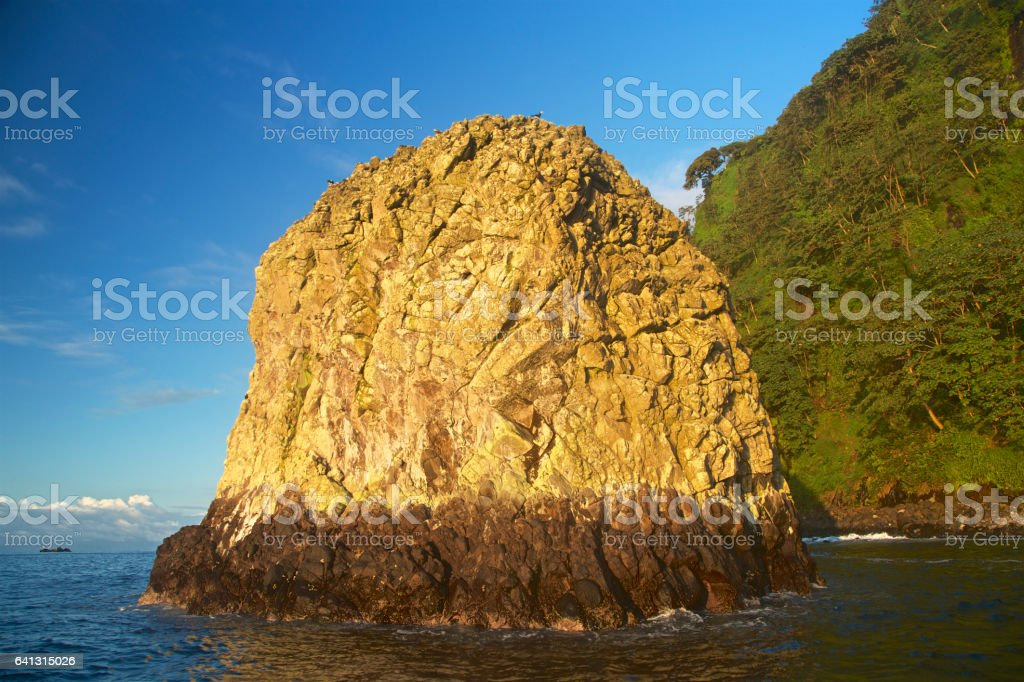 Cliff formations in the Pacific Ocean stock photo