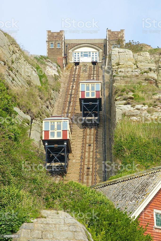 Cliff funicular at Hastings. England stock photo