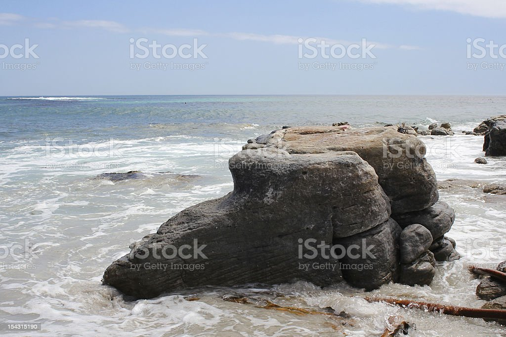 Cliff going into the Ocean stock photo