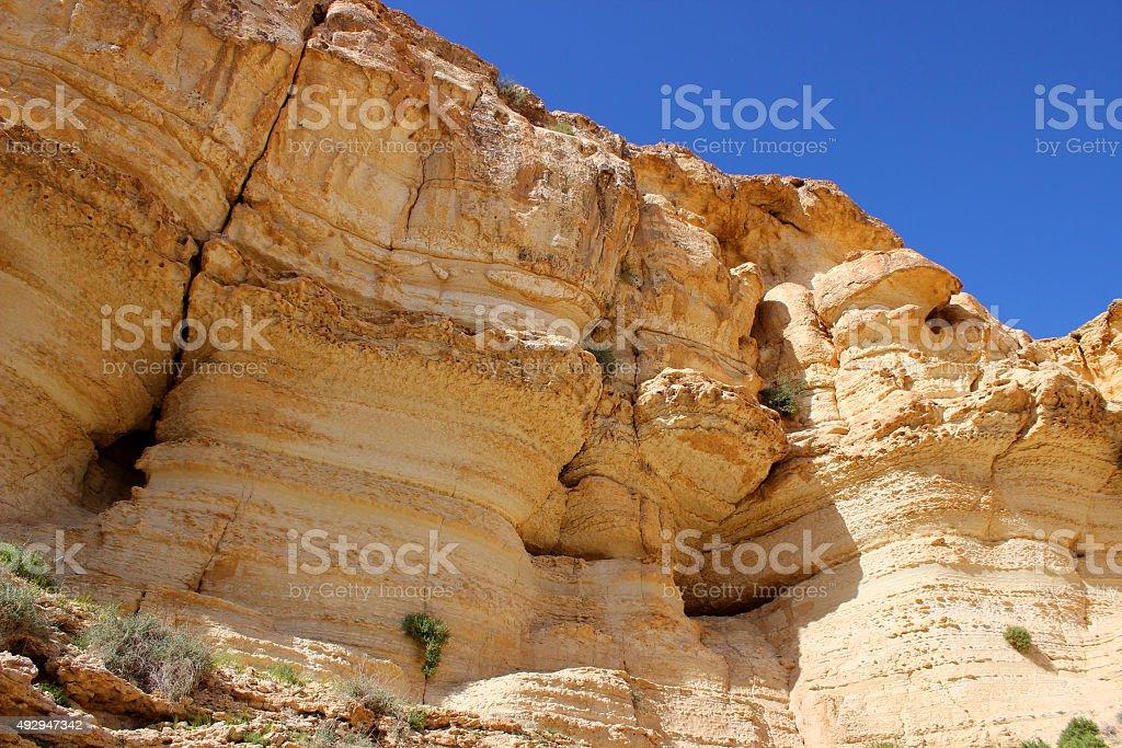 Cliff in the Negev Desert - Israel stock photo