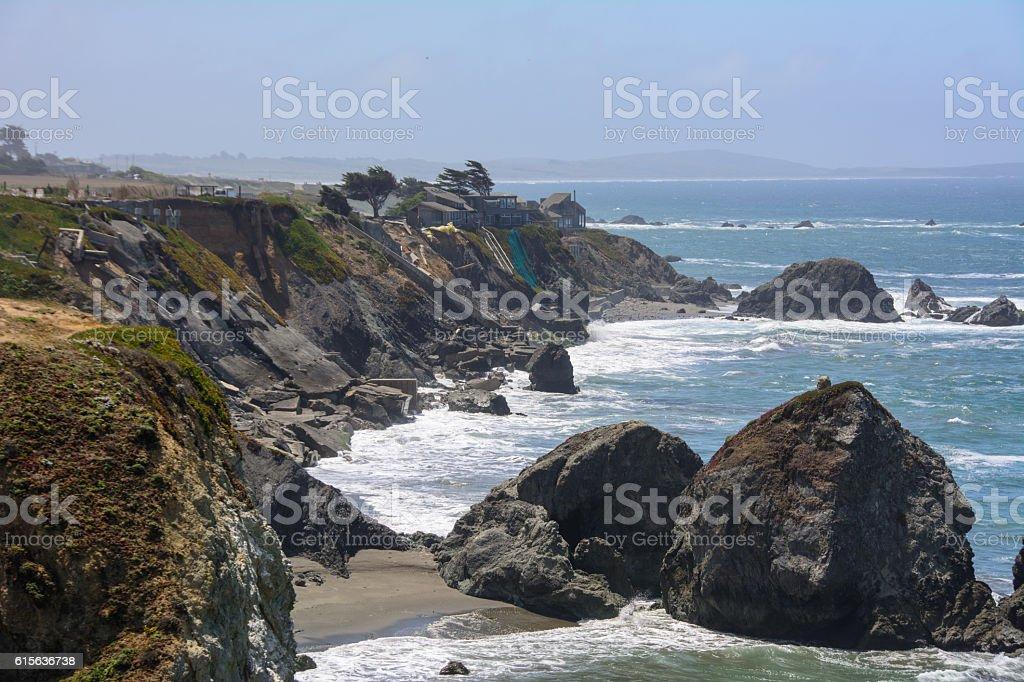 Cliff in the Pacific ocean,  Big Sur California USA stock photo