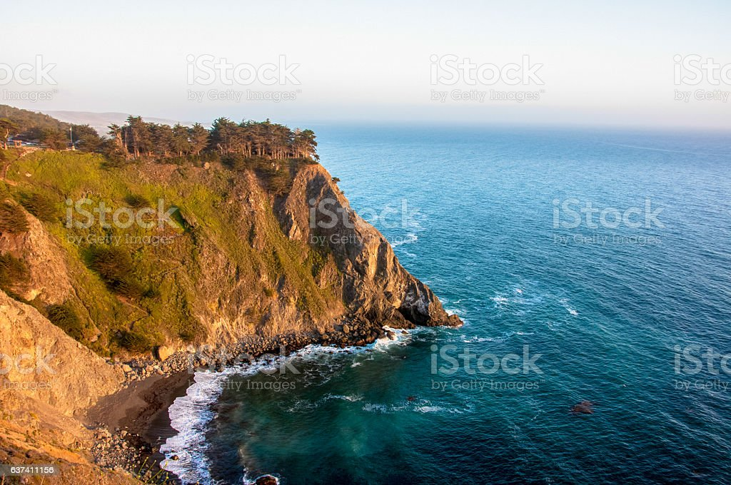 Cliff in the Pacific Ocean near Big Sur, California, USA stock photo
