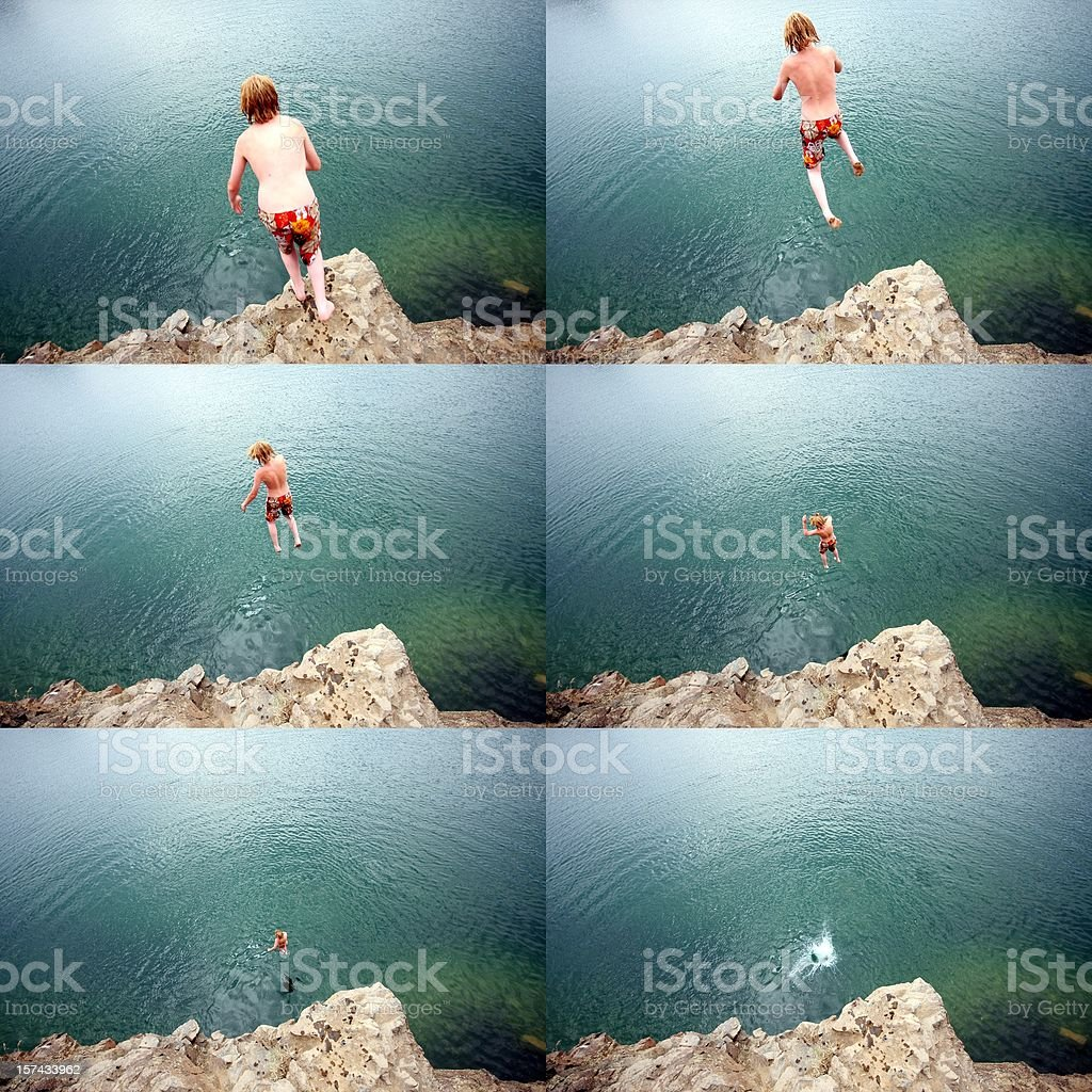 Cliff Jumping Sequence stock photo