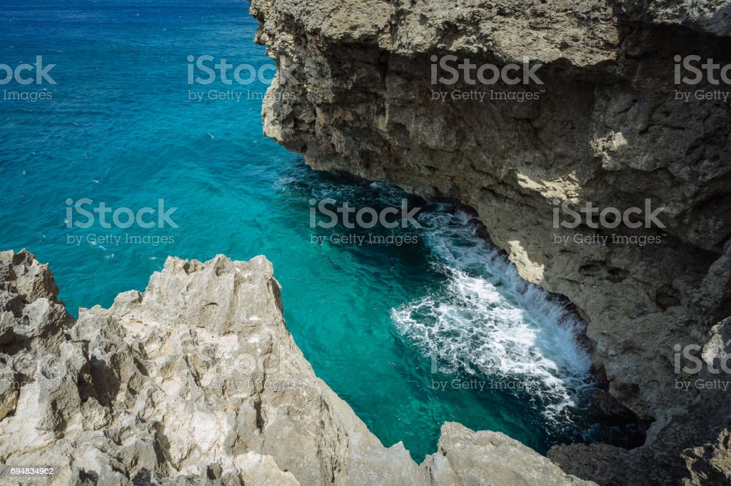 Cliff jumping site in Fortune Island stock photo