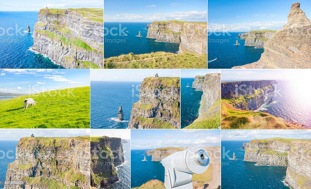 Cliff of Moher set stock photo