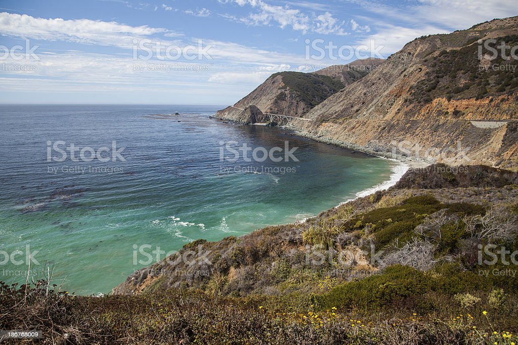Cliff over looking the ocean in Big Sur California stock photo