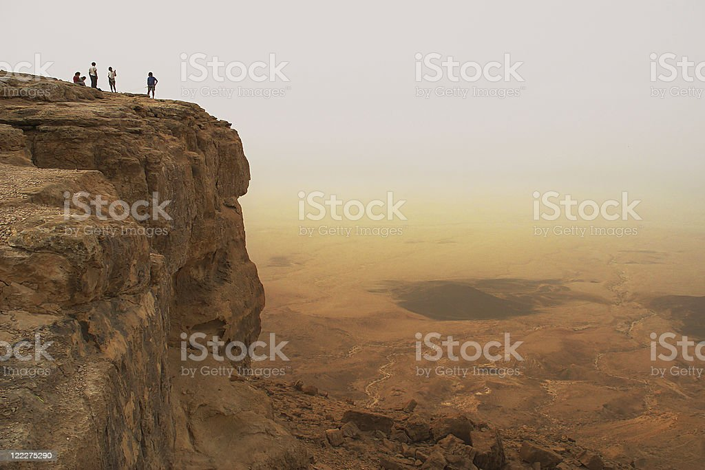 Cliff over the Ramon crater. stock photo