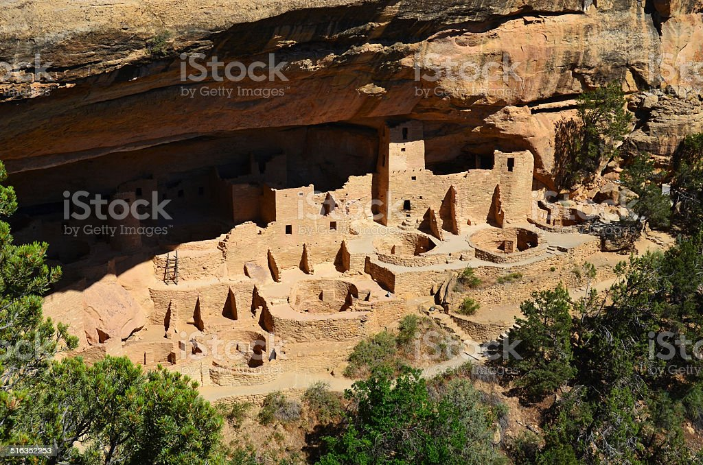 Cliff Palace Anasazi Ruin at Mesa Verde National Park stock photo