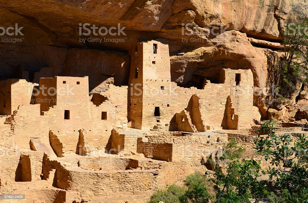 Cliff Palace Anasazi Ruins at Mesa Verde National Park stock photo
