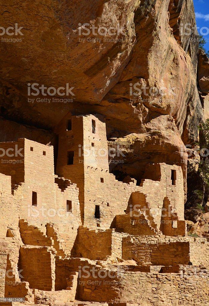 Cliff Palace Anasazi Ruins at Mesa Verde National Park Vertical stock photo