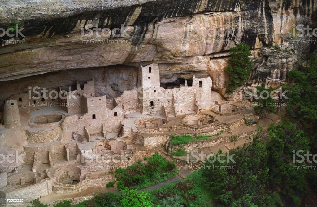 Cliff Palace during rainstorm, Mesa Verde royalty-free stock photo