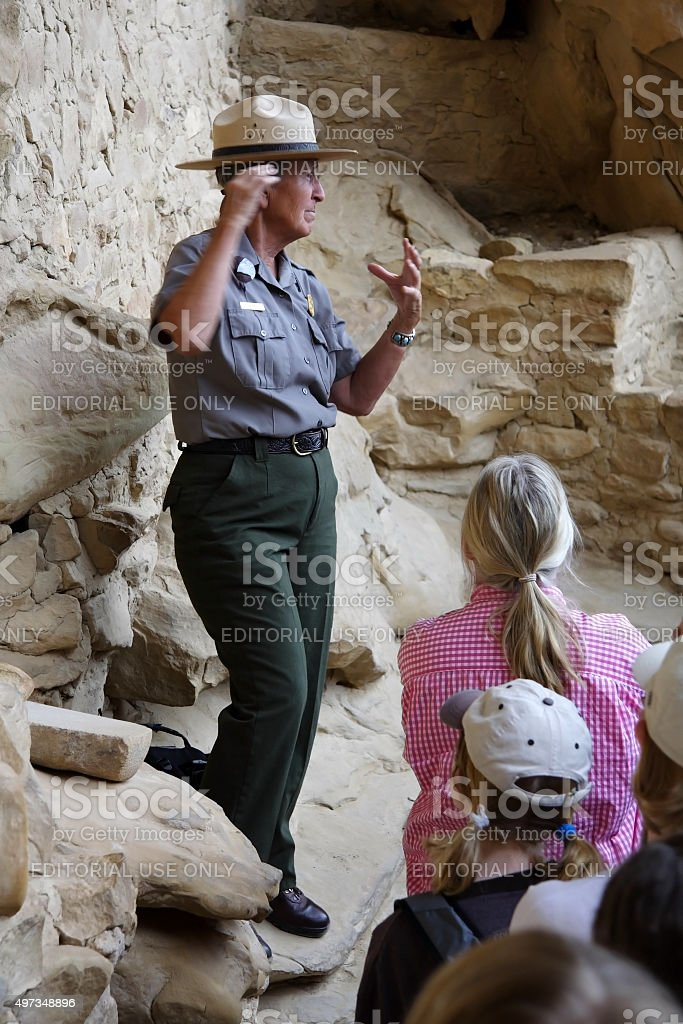 Cliff Palace Tour Group stock photo