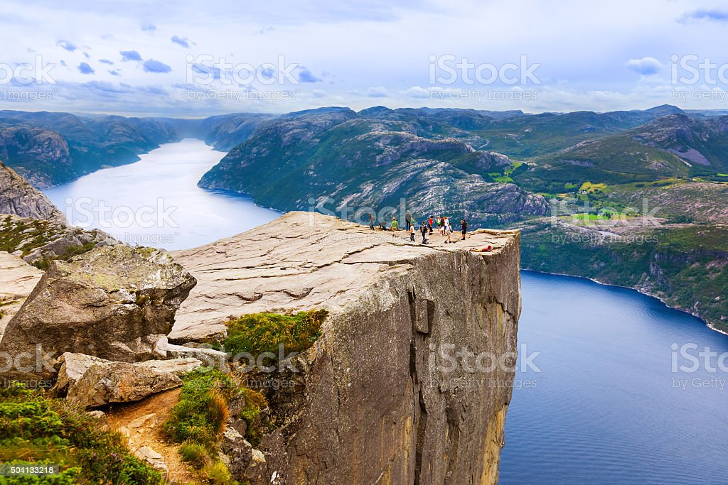 Cliff Preikestolen in fjord Lysefjord - Norway stock photo