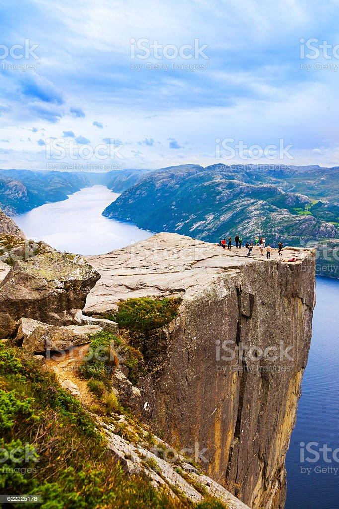 Cliff Preikestolen in fjord Lysefjord - Norway stock photo